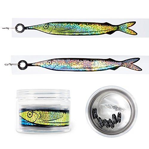 Tournament Gear - The Fishing Tree Fishing Dredge Teaser Kit, Takes Saltwater Trolling Fishing Lures to A New Level, Tournament Gear, Holographic Offshore Fish Teaser Set, 6 Drops of 4 & 8 Silver
