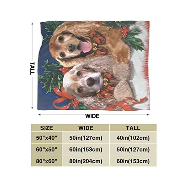 Yulimin Merry Christmas American Cocker Spaniel Dog Full Fleece Throw Cloak Wearable Blanket Nursery Bedroom Bedding Decor Decorations Queen King Size Flannel Fluffy Plush Soft Cozy Comforter Quilt 3