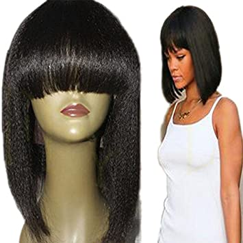 RosesAngel Light Yaki Full Lace Wig for Black Women Bob Wigs with Bangs  Kinky Straight Wig d16a6b9363