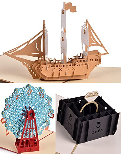 Bon Voyage Bouquet (Homeycozy Handmade 3D Pop Up Greeting Card For Birthday Anniversary Valentine's Day)