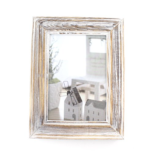 Rectangular Wood Desktop Family Picture Frame with Glass Front (Old Wood, 5x7)