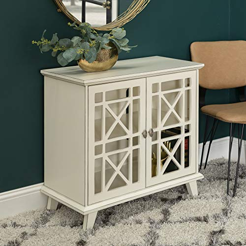 Walker Edison Furniture Company Wood Accent Buffet Sideboard Serving Storage Cabinet with Doors Entryway Kitchen Dining Console Living Room, 32 Inch, Antique White
