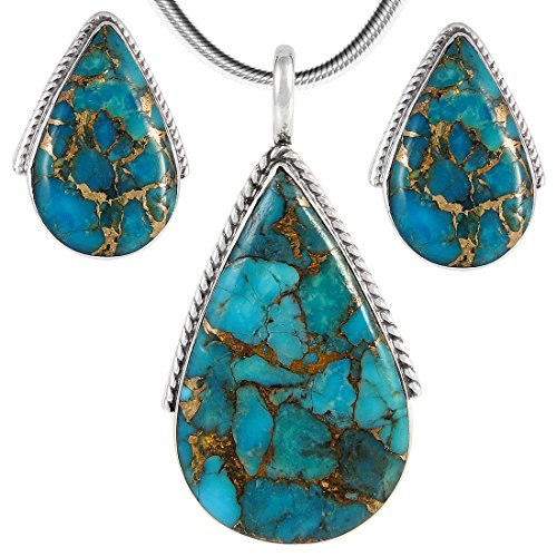 "Turquoise Pendant & Earrings Set in 925 Sterling Silver with 20"" Chain (Pendant+Earrings+Chain)"