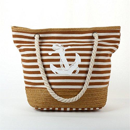Khaki Travel Tote Strips Rope Weave Bag Straw Bag Bag B134 Anchor Shopping Canvas Beach XfqOxwqZ