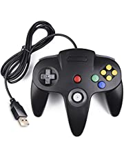 Classic N64 Controller, iNNEXT N64 Wired USB PC Game pad Joystick, N64 Bit USB Wired Game Stick Joy pad Controller for Windows PC MAC Linux Raspberry Pi 3 Genesis Higan (Black)