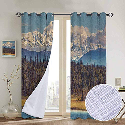(Modern Farmhouse Country Curtains Alaska,Colorful Summer Season in Northwest America Snow White Mountains River Fresh Forest, Multicolor,Design Drapes 2 Panels Bedroom Kitchen Curtains)