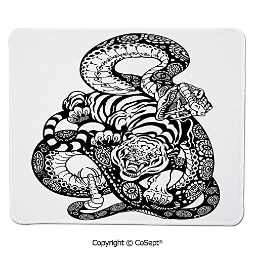 Gaming Mouse Pad,Tattoo Style Scene of Two Animals Fighting Long Snake with Sublime Large Cat Battle,Water-Resistant,Non-Slip Base,Ideal for Gaming (15.74