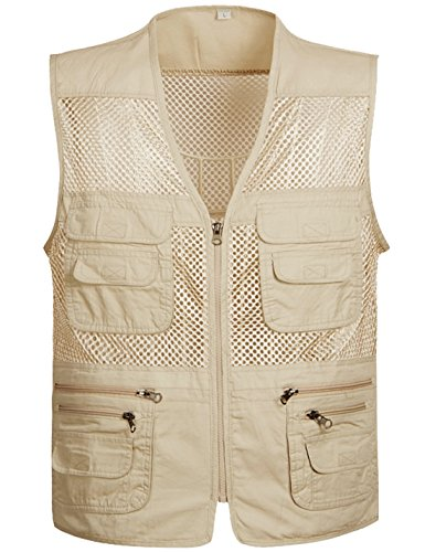 Flygo Men's Summer Mesh Fishing Vest Photography Work Multi-Pockets Outdoors Journalist's Vest Sleeveless Jacket (Large, Style 02 Khaki) ()