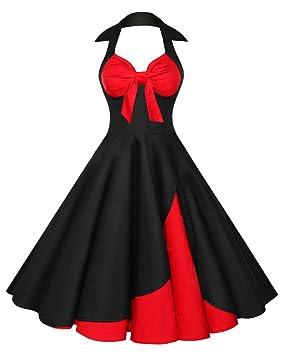 Mujer Vintage Retro Vestido Estilo Años 50 Audrey Hepburn Sin Mangas Cuello V Rockabilly Verano Negro