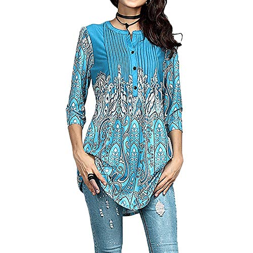 (Elegant Blouse for Women Plus Size, Ladies Boho Printed 3/4 Sleeve Tunic Summer Casual T-Shirt Long Tops)