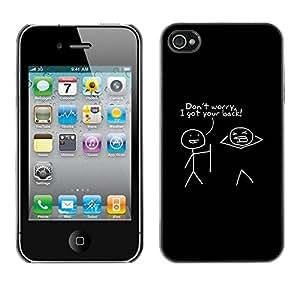 FECELL CITY // Duro Aluminio Pegatina PC Caso decorativo Funda Carcasa de Protección para Apple Iphone 4 / 4S // Quote Friends Funny Stick Man Minimalist