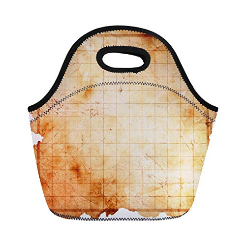 (Semtomn Lunch Tote Bag Game Blank Pirate Treasure Map Abstract Age Aged Antique Reusable Neoprene Insulated Thermal Outdoor Picnic Lunchbox for Men)