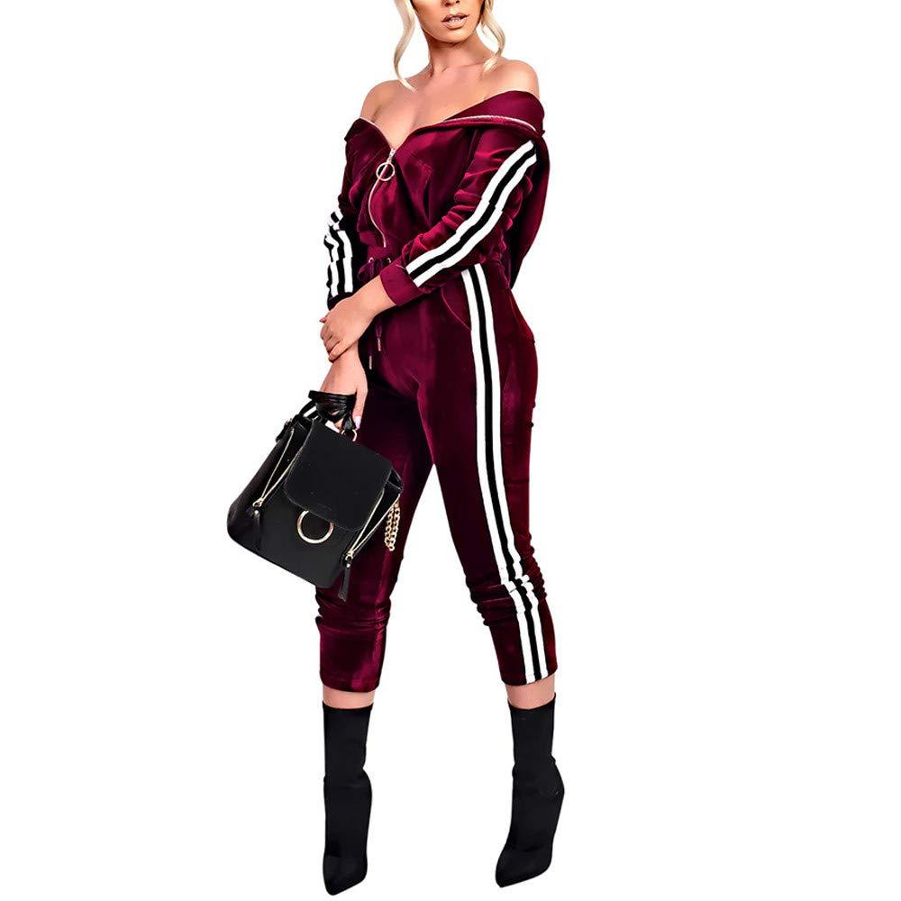 Caopixx Women Two Pieces, 2Pcs Ladies O-Neck Long Sleeve Top+ Ankle-Length Pants Set Sports Outfit (Asia Size M, Wine)