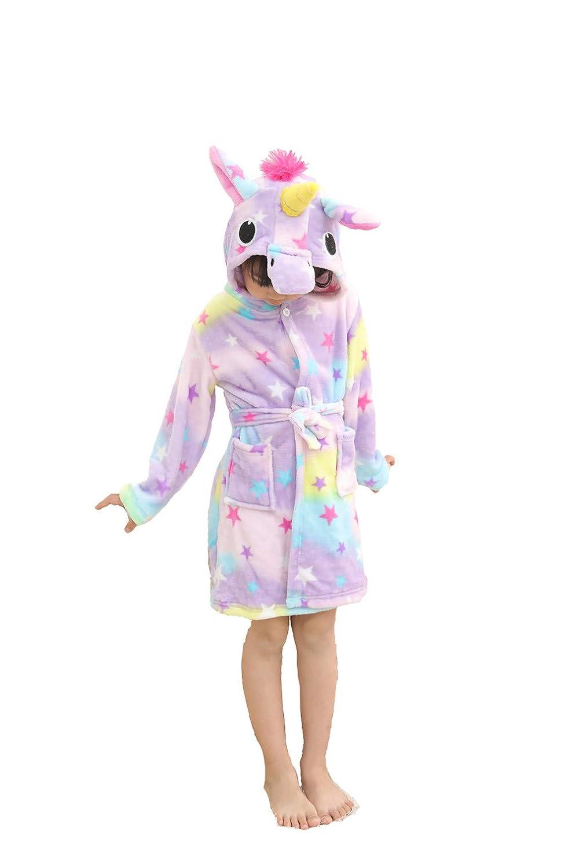 Kinder Weichen Bademantel Comfy Unicorn Flanell Robe Unisex mit Kapuze Geschenk All Seasons Sleepwear Partielle Aktualisierung