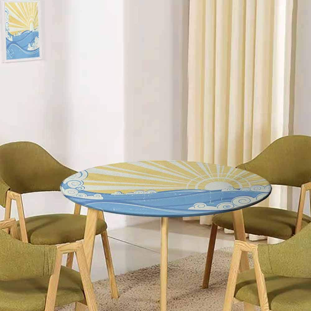 UNOSEKSHOME Retro,Tabletop Decoration Vintage Swirling Ocean Waves Illustration of Sea Landscape with Sun Buffet Decoration(Elastic Edged) Pale Yellow Blue and White 35.5''-37.5'' Round