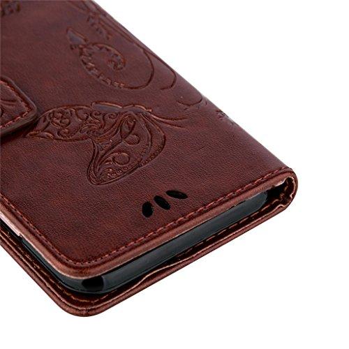 Erdong® Magnético Folio Flip Caso Con pata de cabra titular de la tarjeta Para Apple Iphone 6 Plus / 6S Plus, Elegant Simple Book-style [Marrón flor de mariposa] patrón de impresión cuero del soporte