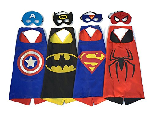 Factory Costumes Hero (Chicatoy Superhero Dress Up Costumes - 4 Satin Capes and 4 Felt)