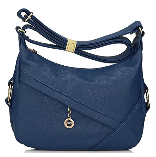 Purses resistant Women's Bagtopia PU Hobo body Cross Blue Leather Water Casual Shoulder Ladies Bags Small for 0aS07q