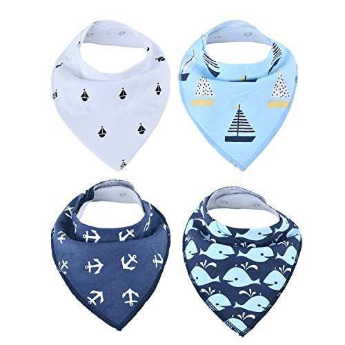 Price comparison product image Baby Bandana Drool Bibs, for Drooling and Teething, Unisex Design for Boys and Girls(Boat)