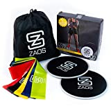 Zaos 5 Resistance Loop Bands and 2 Dual Sided Abdominal Gliding Discs Core Sliders Exercise Bundle for Physical Therapy, Stretching, Legs, and Abs Workouts