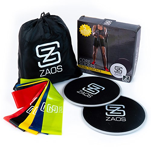 Zaos 5 Resistance Loop Bands and 2 Dual Sided Abdominal Gliding Discs Core Sliders Exercise Bundle for Physical Therapy, Stretching, Legs, and Abs Workouts by ZAOS