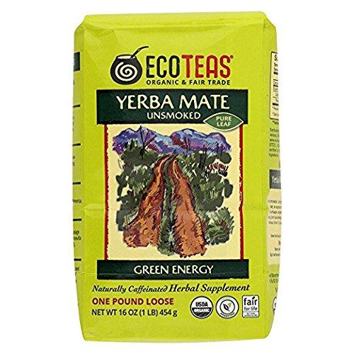 ECOTEAS Organic Yerba Mate - Pure Leaf 1 Pound (Pack of 6) by ECOTEAS