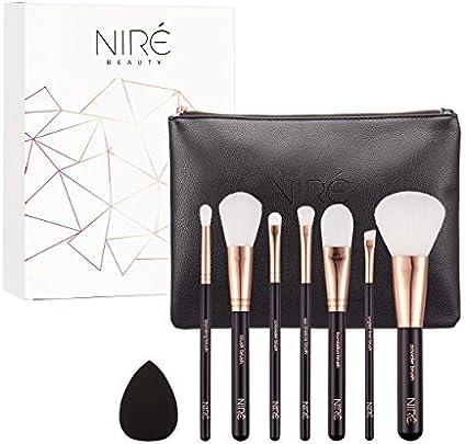 Ultra Soft Essential de Niré Beauty: brochas de maquillaje veganas con esponja de maquillaje y un estuche para las brochas: Amazon.es: Belleza