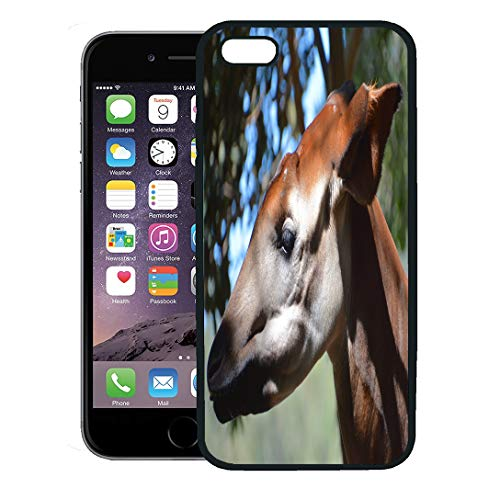 Semtomn Phone Case for iPhone Xs case,Okapi Okapia Johnstoni Also Known As The Forest Giraffe Zebra is Artiodactyl Mammal Native to Northeast iPhone 7 Plus case Cover,Black