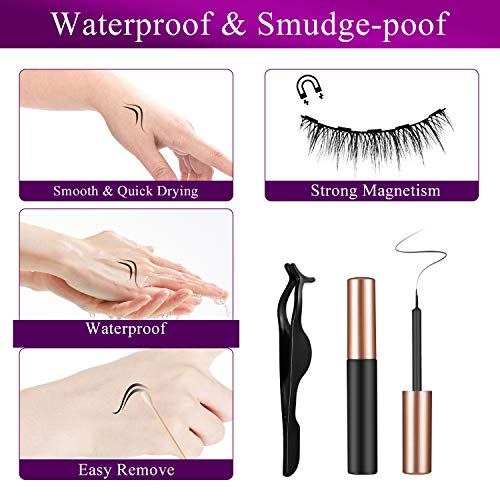 6 Pairs Magnetic Eyelashes with Eyeliners, 3D Reusable Natural Look Magnetic Lashes with applicator, No glue needed…