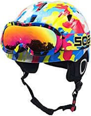 BeBeFun Toddler and Kids Youth Snow Sports Ski Helmet and Goggles Combo Ages 3-7 and Ages 8-14