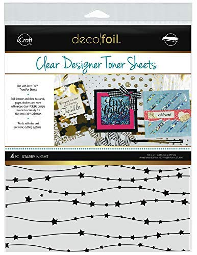 iCraft Deco Foil Clear Designer Toner Sheets 8.5 x 11, 4 Sheets per Pack, Starry Night