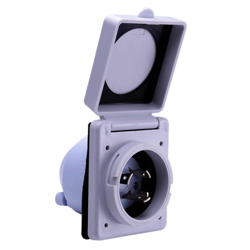 RV Power Inlet 30 Amp 125V Marine Twist Lock White Compare To Marinco 301ELRV