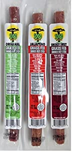 100% Grass-Fed Beef Sticks: MSG, Gluten and Soy Free, Never Given Antibiotics or Hormones (Variety Pack, 12-Count, 1-oz Stick)