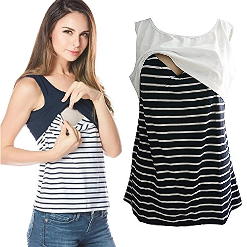 Hot Sale! Farjing Women Summer Striped Casual Breastfeeding Shirt Tops Blouse Tank Crop ()