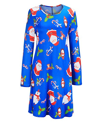 Christmas Themed Dresses - Barbella Women's Ugly Christmas Dress Long Sleeve Xmas Print Flared Swing Dresses, #11_Santa Claus Blue, X-Large