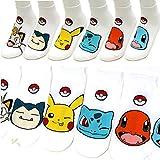 Boy's 6pk Low-Cut Socks Pokemon Go Meowth Snorlax Pikachu Ivysaur Charmander Character Women's Ankle Socks / Socks Gift