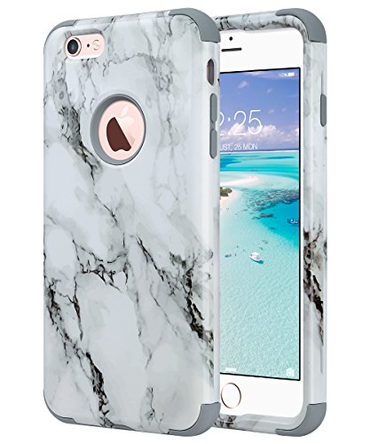 iPhone 6S Plus Case,iPhone 6 Plus Case, ULAK Dual Layer Hybrid High Impact Hard Plastic/Soft Silicone Rubber Knox Armor Case Cover for Apple iPhone 6S Plus/6 Plus 5.5 inch,Artistic-marble (Protective Soft Plastic Case)