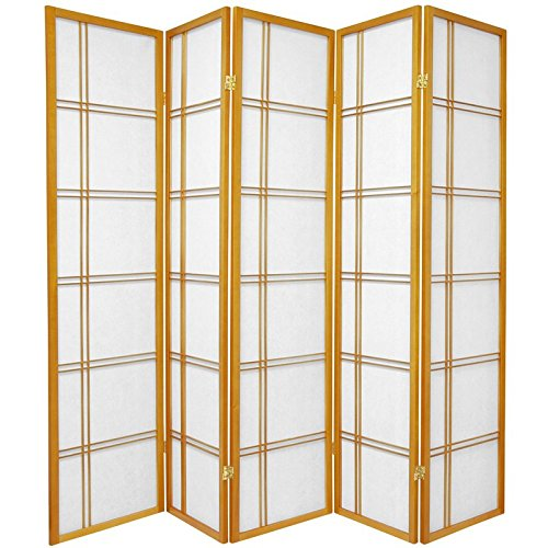 Screen Honey - Oriental Furniture 6 ft. Tall Double Cross Shoji Screen - Honey - 5 Panels