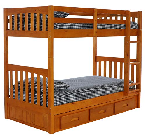 Discovery World Furniture Twin Over Twin Bunk Bed with 3 Drawer Storage, Honey