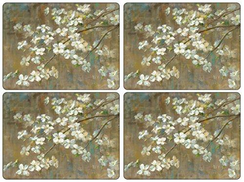 Pimpernel Dogwood in Spring Placemats - Set of 4 (Hardboard Set Placemats)