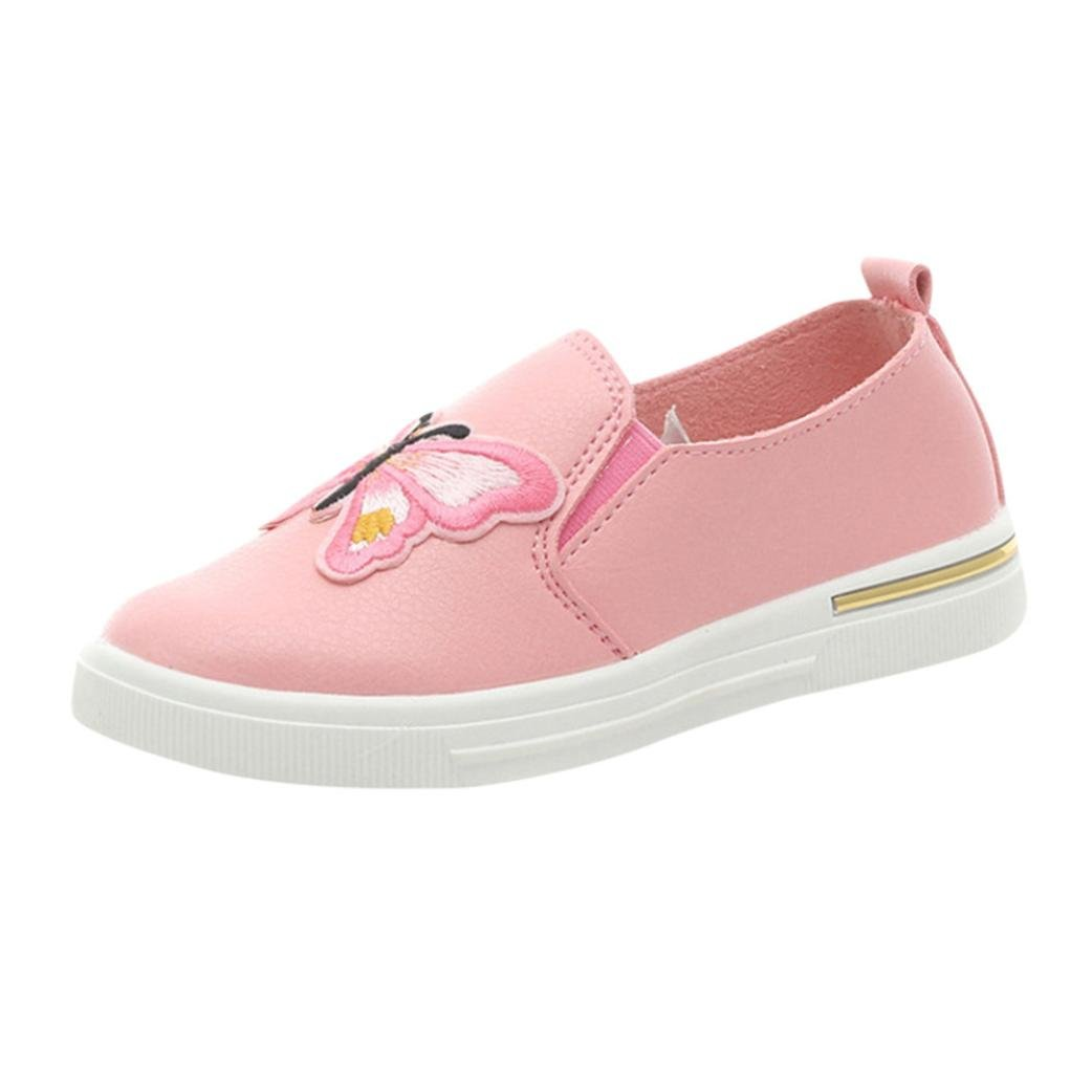 Voberry@ Kids Girls Butterfly Soft Leather Loafer Casual Slip-on Shoes//Sneakers//Flats