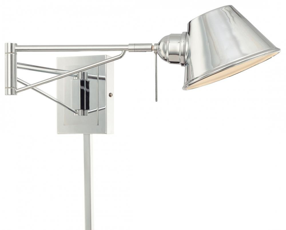 George Kovacs P611 077 Georges Reading Room 1 Light Swing Arm Wall Sconce,  Chrome     Amazon.com