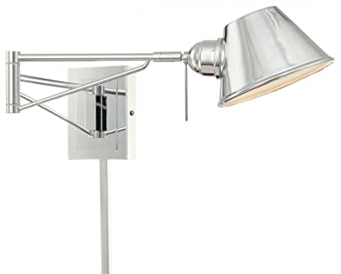 George Kovacs P611 077 Georges Reading Room 1 Light Swing Arm Wall Sconce,  Chrome
