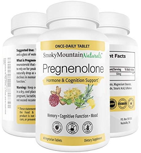 Soy Menopause - Pregnenolone 50mg, 60 Tablets (2 Month Supply) Menopause & PMS Supplement. Supports Memory, Mood, Weight Loss, Hormone Balance, Healthy Aging and Immune System*. Soy-Free, Vegetarian & Non-GMO