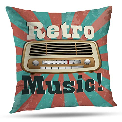- KJONG Music Theme Wallpaper Square Decorative Pillow Case 18 x 18 inch Pillow Cover for Bedroom Living Room Retro Music with Vintage Radio Radio Vintage Advertisement (Two Sides Print)