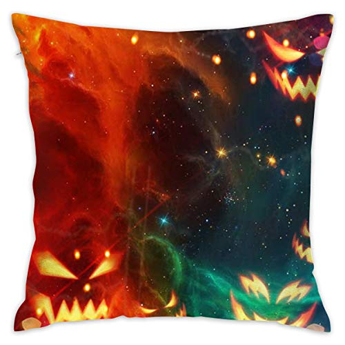 TRK-KWQDF Cool Halloween Pumpkin Galaxy Throw Pillows Covers for Couch/Bed 18 X 18 Inch, Print for Textile Wallpaper Pattern Home Sofa Cushion Cover Pillowcase Gift Bed Car Living Home ()