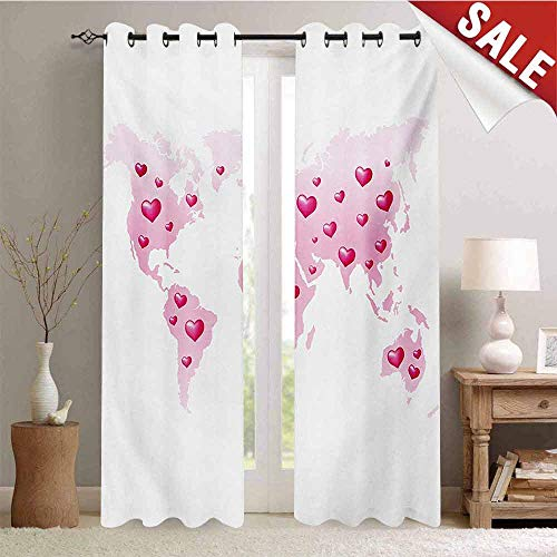 Princess Waterproof Window Curtain Global Peace Theme World Map Dotted with Hearts Love Planet Earth Room Darkening Wide Curtains W72 x L108 Inch Baby Pink White Fuchsia