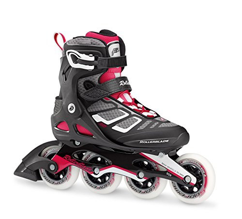 Rollerblade Macroblade 90 Alu Women's Adult Fitness Inline Skate, Black and Cherry, High Performance Inline (Performance In Line Skate)