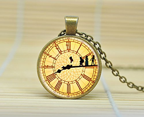 Peter Pan Necklace Clock Jewelry Glass Cabochon Necklace A3163