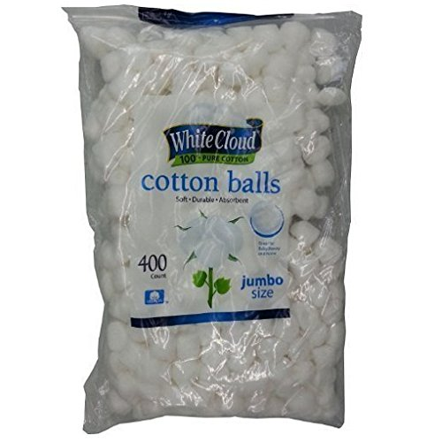 White Cloud Cotton Balls, Large Jumbo Size, 400 Count Package, 1 Pack (Includes 400 Big Plus Size Jumbo Cotton Balls Total)